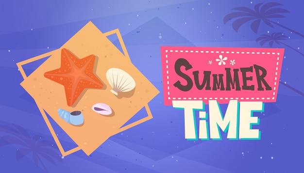 夏時間休暇海旅行レトロバナーシーサイドホリデー Premiumベクター