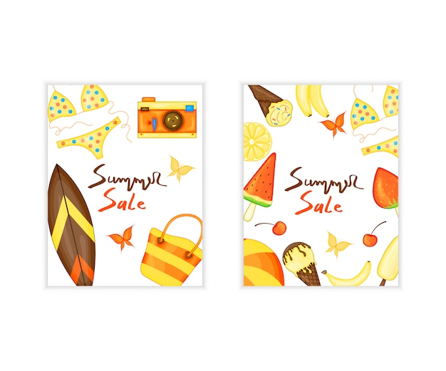 Summer time vector banner design and colorful beach elements. vector illustration Premium Vector
