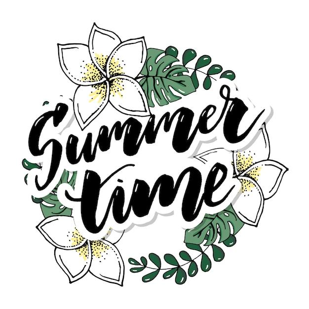 Summer time vector banner design Premium Vector