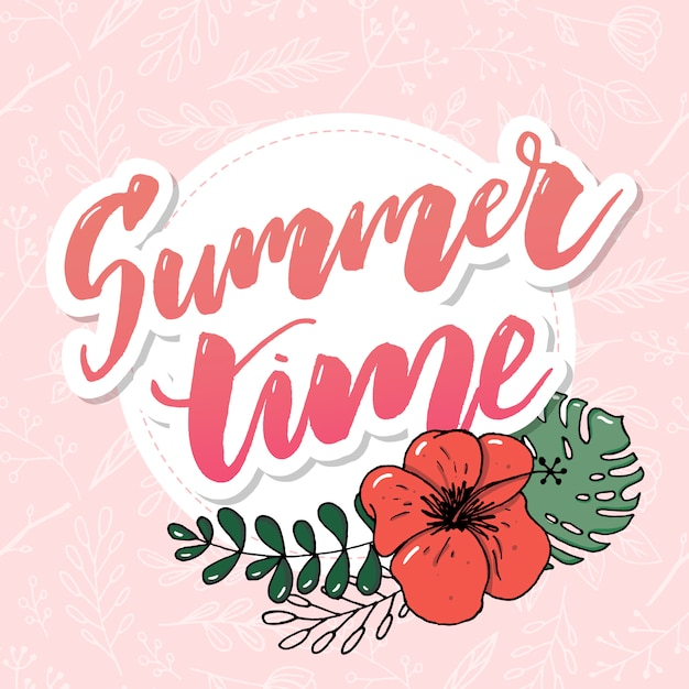 Summer time vector banner with flowers Premium Vector