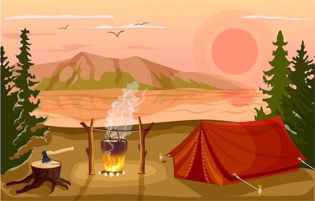 Summer tourist camp in forest near lake Premium Vector