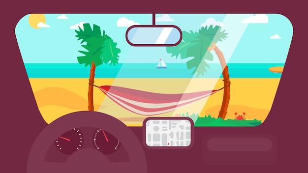 Summer travel in car Premium Vector
