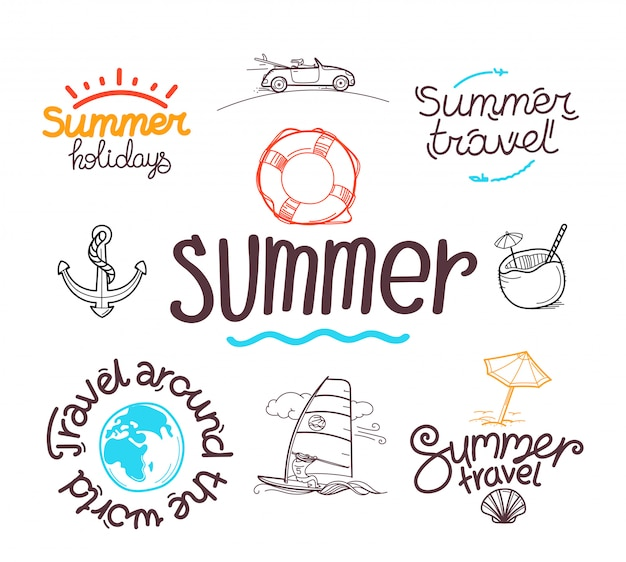 Summer travel doodle style Premium Vector