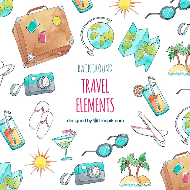 Summer travel elements background Free Vector