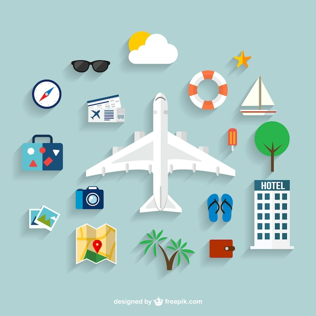 Summer Travel Icons Free Vector