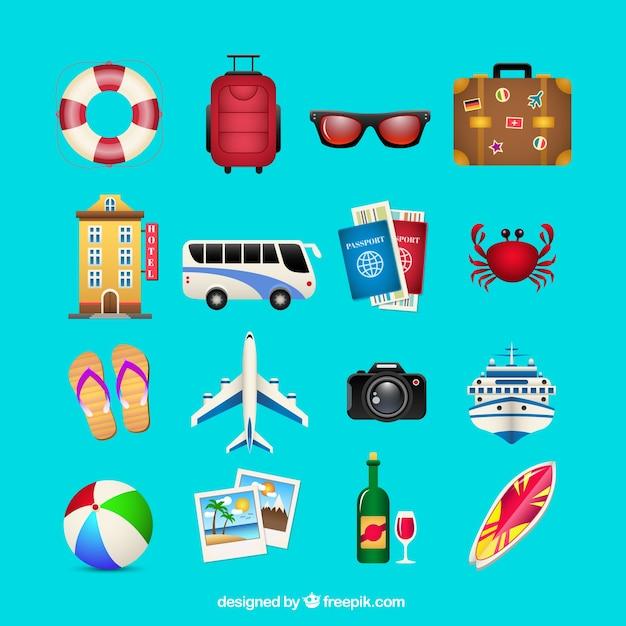 Summer travel icons Premium Vector