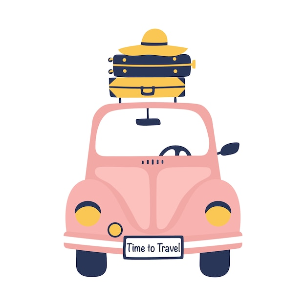 Summer travel illustration with retro car and suitcases. Premium Vector