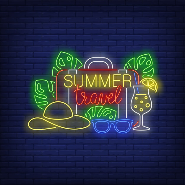 Summer travel neon lettering, suitcase, hat, cocktail Free Vector