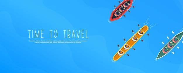 Летнее путешествие на лодке. Premium векторы