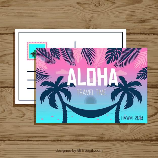 Летняя открытка с плоским дизайном Бесплатные векторы