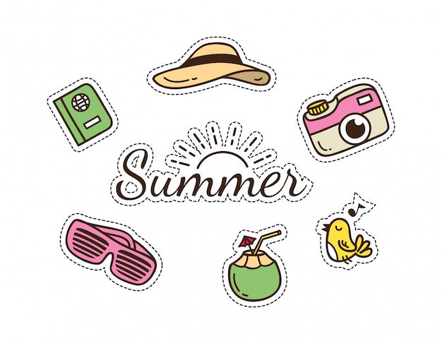 Summer and travel themed cute patch Premium Vector