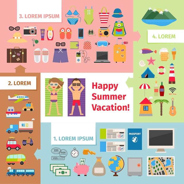 Elementi di viaggio e vacanza estivi. Vettore gratuito