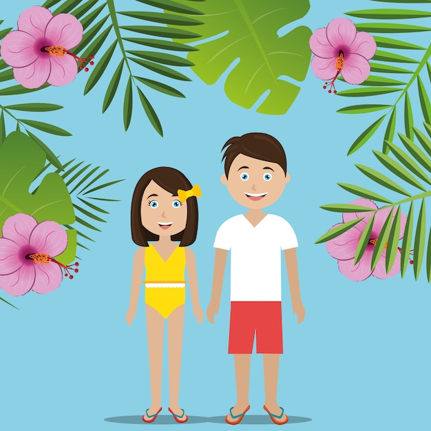 Summer, travel and vacation Free Vector