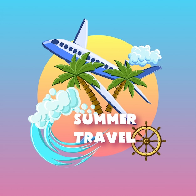 Summer travel with palm trees, airplane, ocean waves, ship wheel, cloud on the sunset sky. Premium Vector