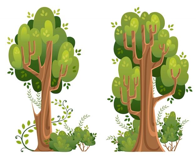 여름 나무와 덤불 스타일. 녹색 공간. 흰색 배경에 그림입니다. 웹 사이트 페이지 및 모바일 앱 프리미엄 벡터