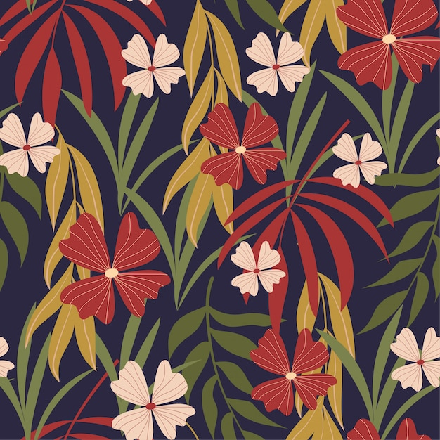 Summer trend abstract seamless pattern with tropical leaves Premium Vector