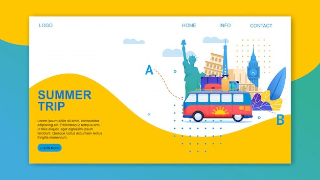 Summer trip by bus through europe landing page template Premium Vector