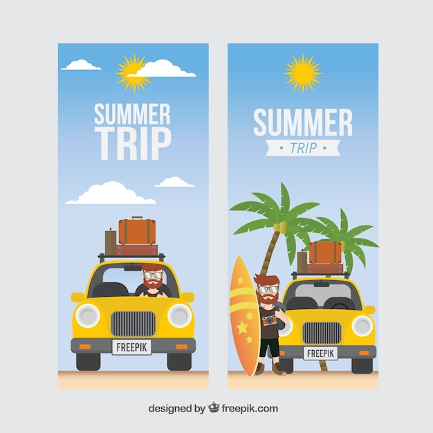Summer trip with car banners