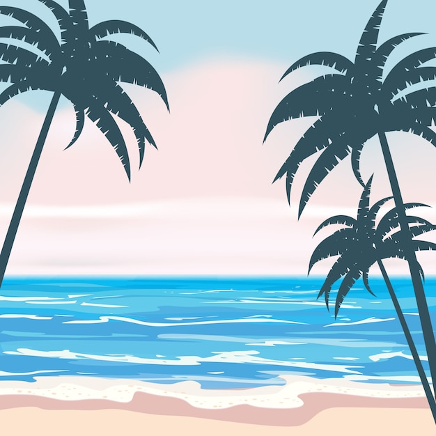Summer tropical background with exotic palm leaves and plants, shore waves surf sea, ocean. trend style design Premium Vector