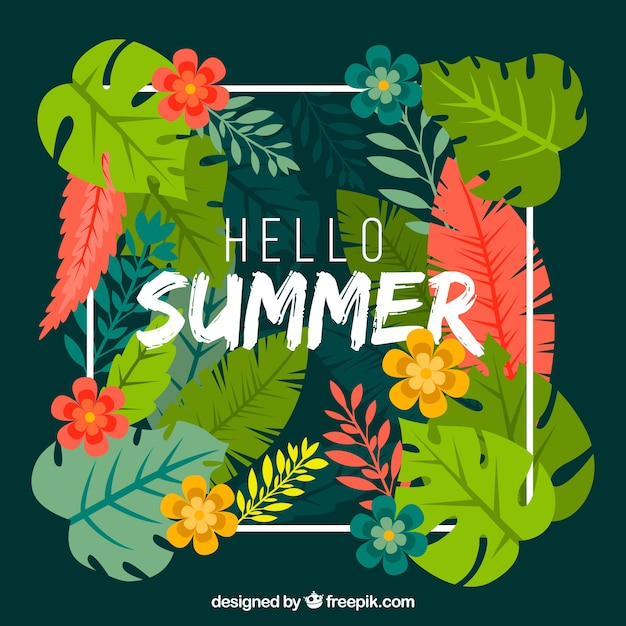 Summer tropical background with flowers