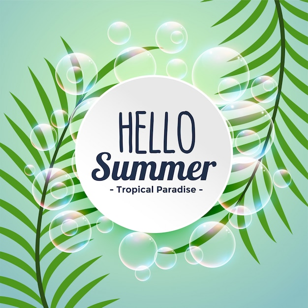 Summer tropical background with leaves and bubbles Free Vector