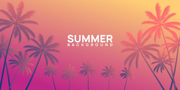 Summer tropical background with palm and sunset Premium Vector