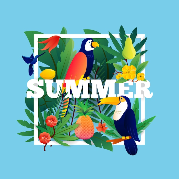 Summer tropical background with plants fruits and birds illustration Free Vector