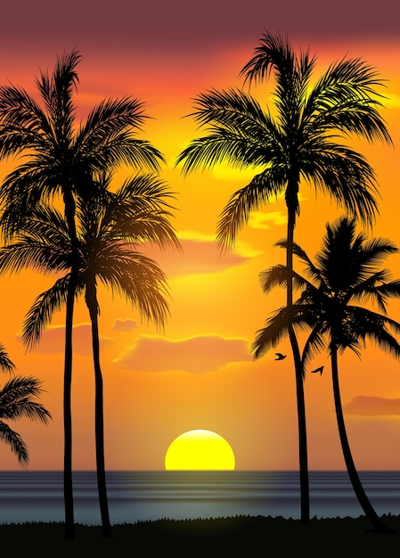 Summer tropical beach background with palms Premium Vector