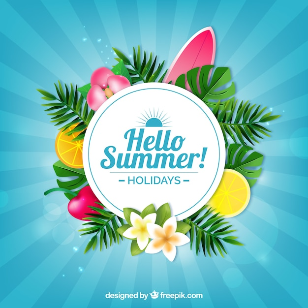 Summer tropical blue background