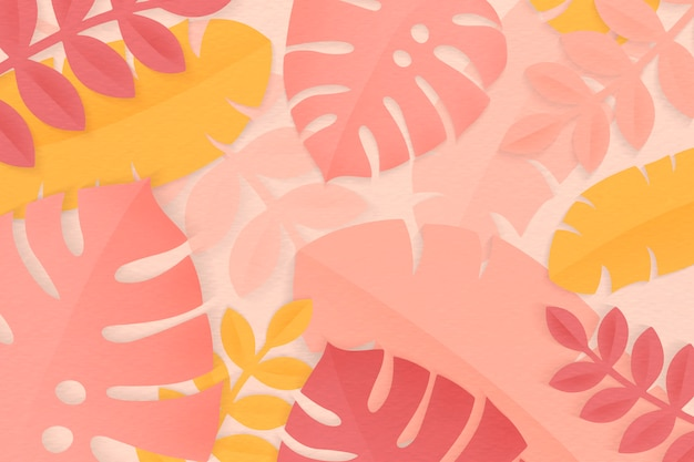 Summer tropical colorful leaves Free Vector