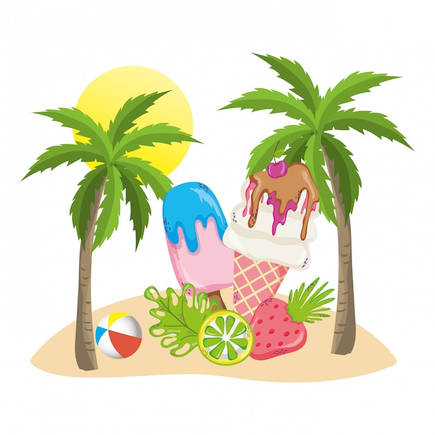 Summer and tropical drinks Premium Vector