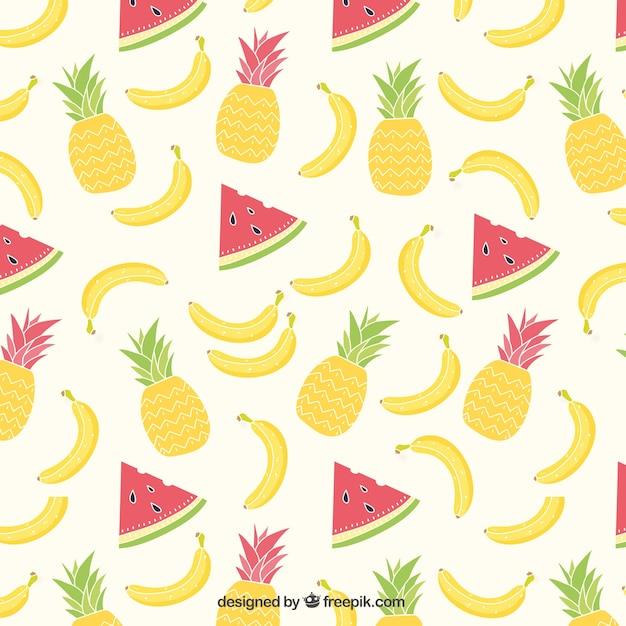 Summer tropical fruits pattern Free Vector