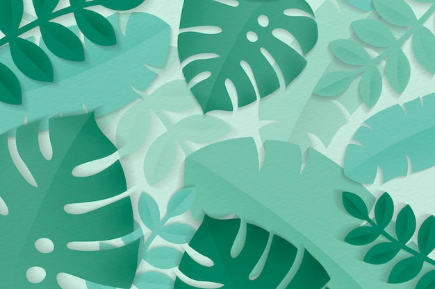 Summer tropical green leaves Free Vector
