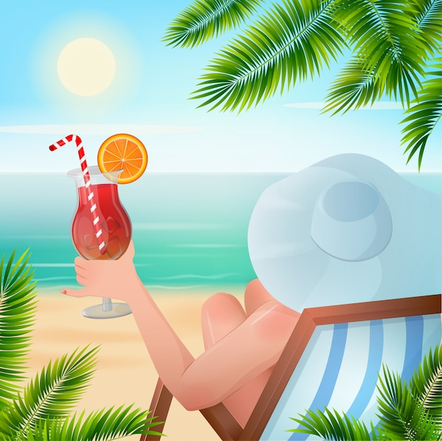 Summer tropical holiday woman with cocktail Premium Vector