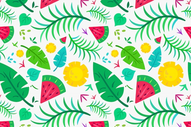Summer tropical leaf and fruit pattern Premium Vector