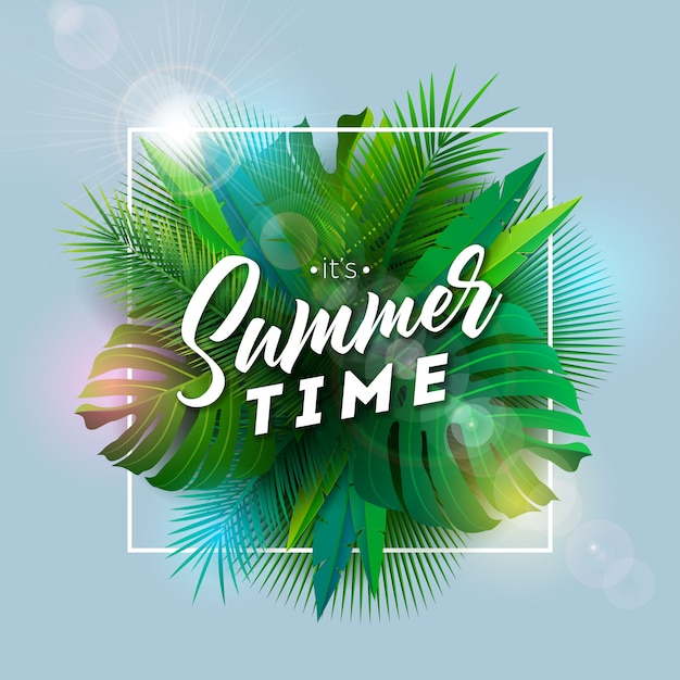 Summer tropical paradise illustration with exotic palm leaves Premium Vector