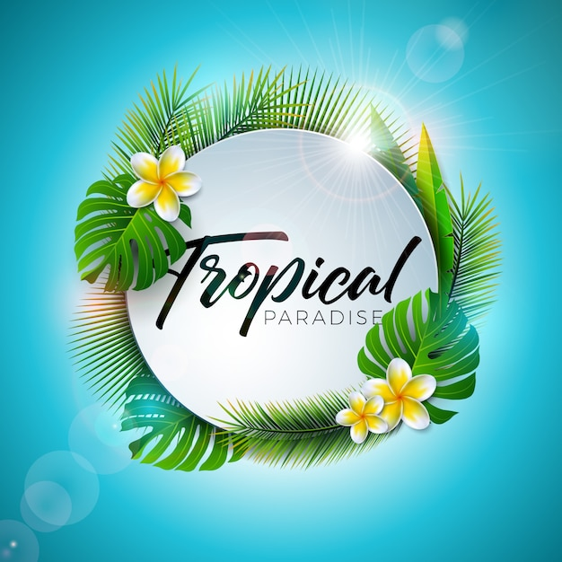 Summer tropical paradise illustration with typography letter and exotic plants Premium Vector