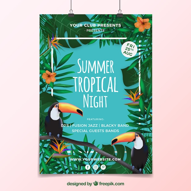 Summer tropical party poster Free Vector