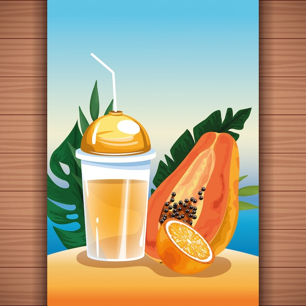 Summer tropical refreshment fruit juice Free Vector