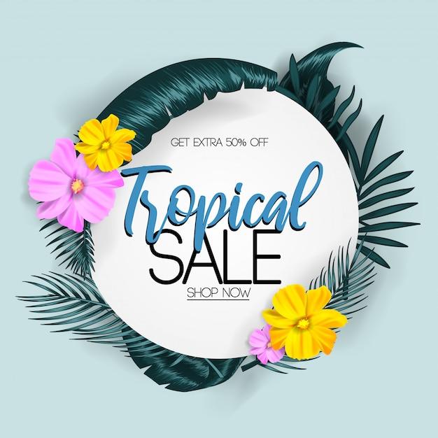 Summer tropical sale Premium Vector