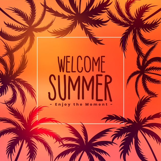 Summer tropical sunset background with palm trees Free Vector