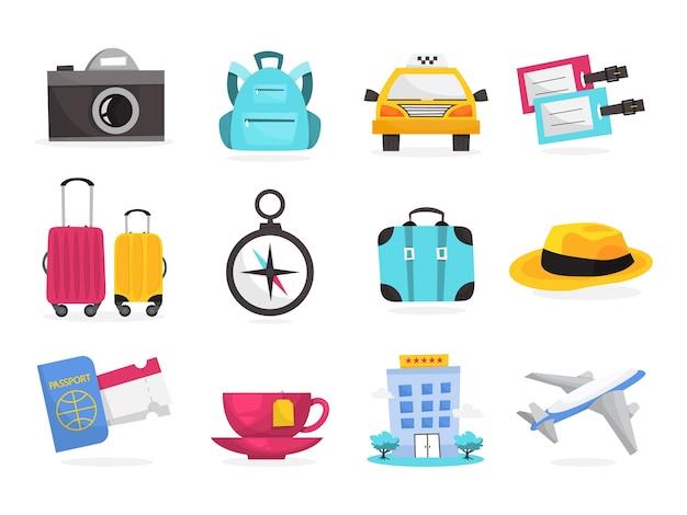 Летние каникулы и концепция путешествий. идея туризма Premium векторы