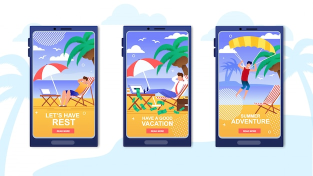Summer vacation application mobile covers set. Premium Vector