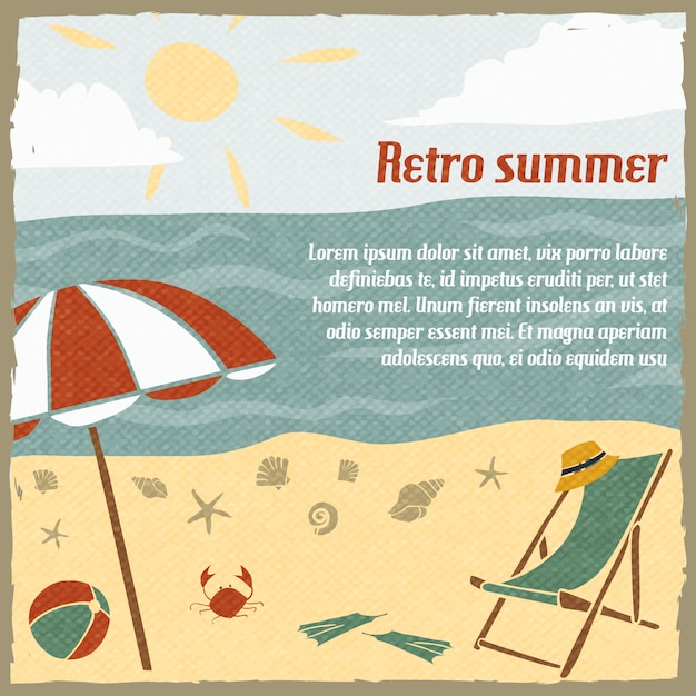 Summer vacation background template retro Free Vector
