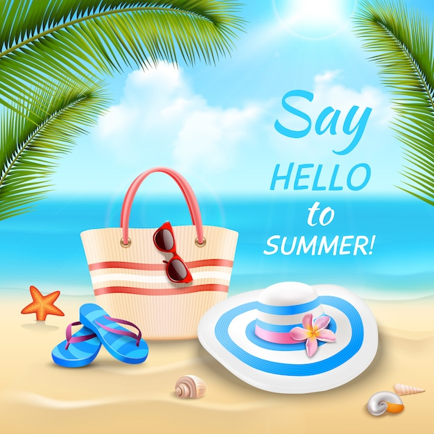 Summer vacation background with beach bag hat and flip-flops on sand realistic Free Vector