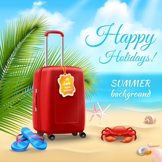 Summer vacation background with realistic suitcase on tropical beach Free Vector