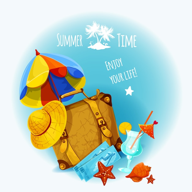 Summer vacation background Premium Vector