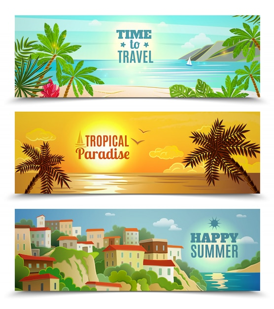 Summer vacation banners set with tropical beach\ sunset ocean water reflection