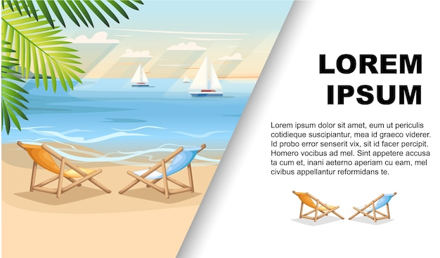 Summer vacation beach background with green palm leaves advertising flyer Premium Vector