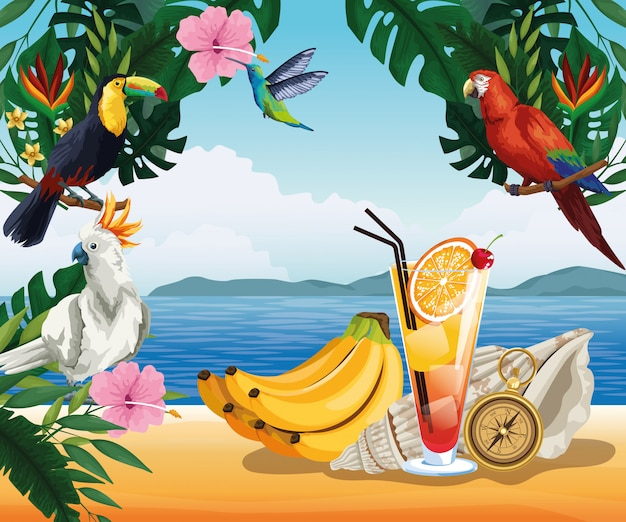 Summer vacation and beach in cartoon style Free Vector